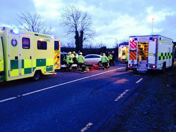 Ambulance and fire personnel at today's crash scene.