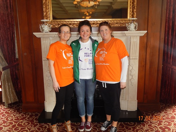 Larissa Muldoon, centre, with Relay for Life's Siobhan Diver and Laura Bennett.