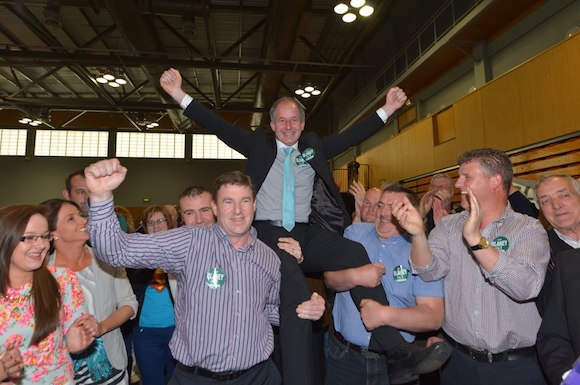 Liam Blaney elected at the first count in the Letterkenny Electorial area. Pic-Clive Wasson