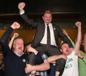 Ciaran Brogan and supporters celebrate: Pix North West News Pix