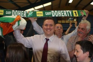 Gary celebrates topping the poll in Stranorlar.