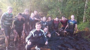 Danny O'Carroll pictured with his Lagan Harps Squad during pre-season, is organizing a fundraiser in aid of the club's new pitch development.