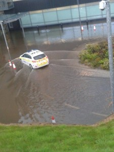 Gardai at the latest flooding at Letterkenny General Hospital.