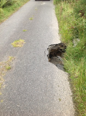 The massive hole where the road has collapsed outside Letterkenny.