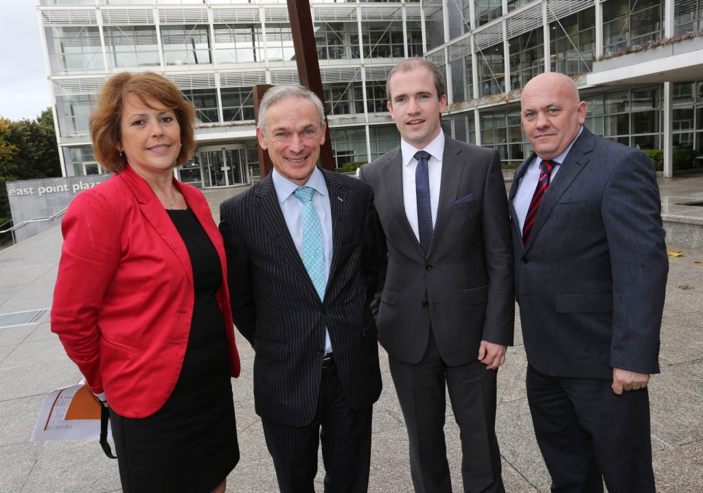 Carole Brenan, Enterprise Ireland Richard Bruton, Minister for Jobs, Enterprise and Innovation Pete Friel, Founder, Chartered Education, Donegal winner of Ireland's Best Young Entrepreneur Patsy Donaghy, Manager, CoLab Innovation Centre, Letterkenny