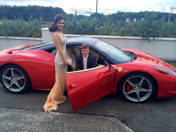 Michaela presents Jason with his new Ferrari - well for a night at least!