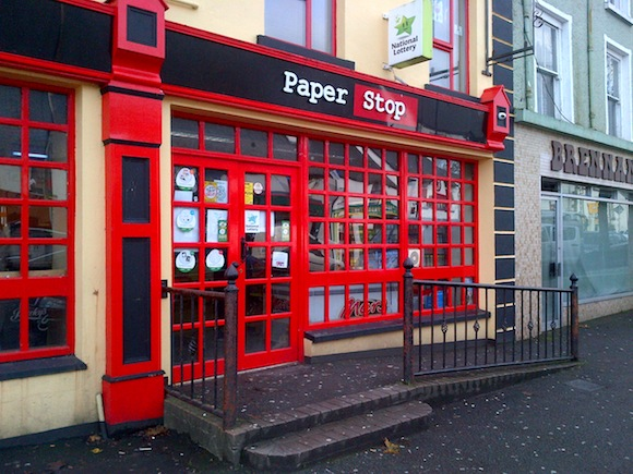The Paper Stop shop in Glenties which was one of a number of places raided. PIc Donegal Daily.
