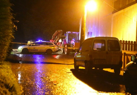 The scene of last night's tragic accident in Killygordon which claimed the lives of two men. Pic by North West Newspics.