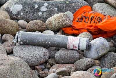 The marine marker which contained explosives. Pic by Owen Clarke.