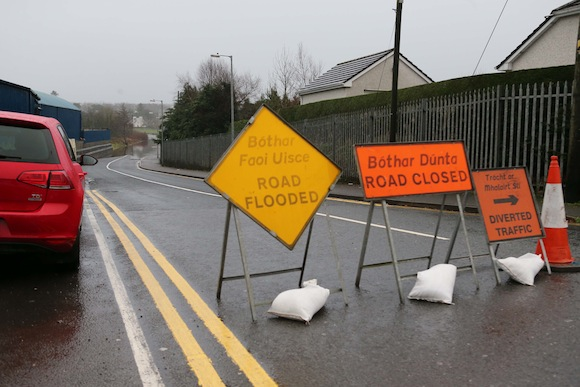Diversion in place at Navenny, Ballybofey where the road is currently flooded. PIc by Gary Foy.