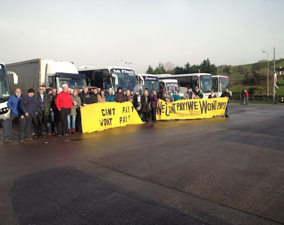 Members of the Can't pay Won't pay group en route to Dublin today.