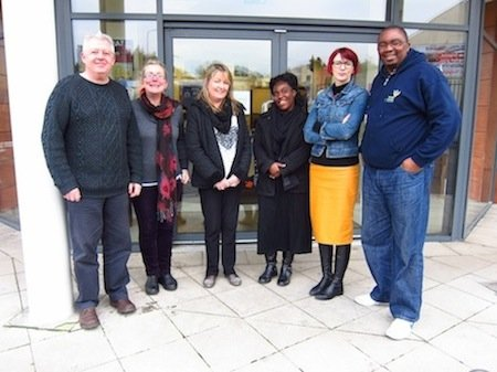 Standing outside the Port Road location of the new Donegal Intercultural Platform drop-in service which takes place on Friday afternoons in the Letterkenny office of Donegal Travellers Project. Pictured are representatives of both organisations: Paul Kernan, Siobhán McLaughlin, Catherine Conaghan, Georgina Aduboahene, Paula Leonard, and Billy Banda.