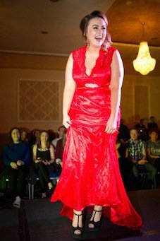 The lady in red - Ciara Murphy on the catwalk.