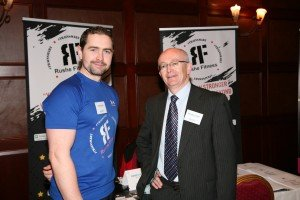 Emmet Rushe of Rushe Fitness who will highlight why health and fitness are vital to business successs at the Friday event 'Eyes on the Prize,' pictured with the Head of Enterprise in Donegal, Michael Tunney.