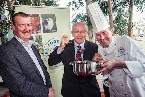 Chef Anthony Armstrong pictured with Michael Tunney, Head of Enterprise, Donegal Local Enterprise Office (centre) and Martin Lynch of The Food Coast, Donegal, Steering Committee.