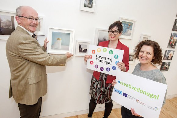 Michael Tunney, Head of Enterprise, Donegal Local Enterprise Office, putting the finishing touches to one of the displays for the launch of the new Donegal Creative Strategy next week. Also included in the photo are (centre) Grace Korbel of Donegal Local Enterprise Office and Fiona Higgins of Donegal Designer Makers.