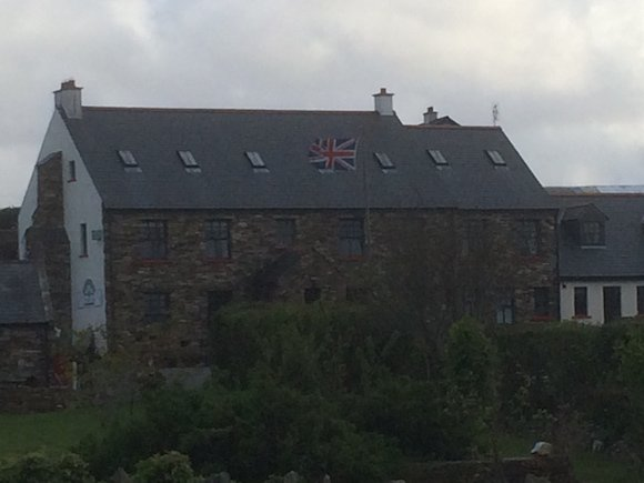 The union flag flies above Corncreggan Hostel in Dunfanaghy three weeks ago. Pic by 100% Pictures.