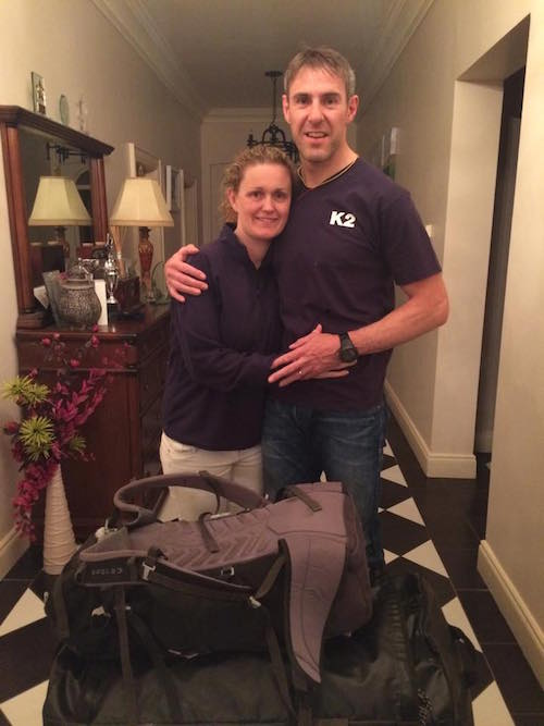 Jason Black shares some precious time with wife Sharon before he left Donegal for Pakistan on Sunday evening.