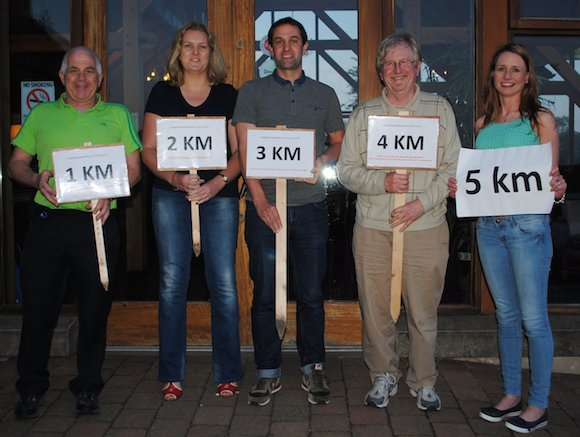 Paddy Bond (LS Community), Janet Russell (Cashelshanaghan NS), Cliff Smyth (Woodland NS), Donal Casey (LS Community) and Tracey Downes (LS Community) get ready for tomorrow's big 5K!