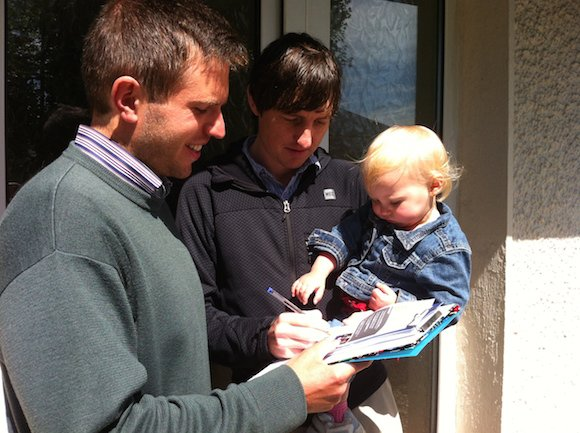 Tim Jackson takes his campaign to the doorsteps.