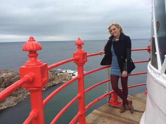 Presenter Máire Treasa Ní Dhubhghaill at Fanad Lighthouse.