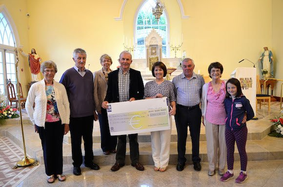 Agnes Brown, Brendan Breen, Fidelma Doherty, Jim Doherty, Mary Mc Daid, Eamonn Murray, and Patricia Mc Grath with the cheque of 10,989 euro's presented to Glenswilly Church Restoration Fund from events held in Philadelphia. Pic by Geraldine Diver.