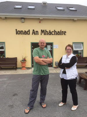 Councillor Mac Giolla Easbuig with Frances Boyle, manager of the centre.