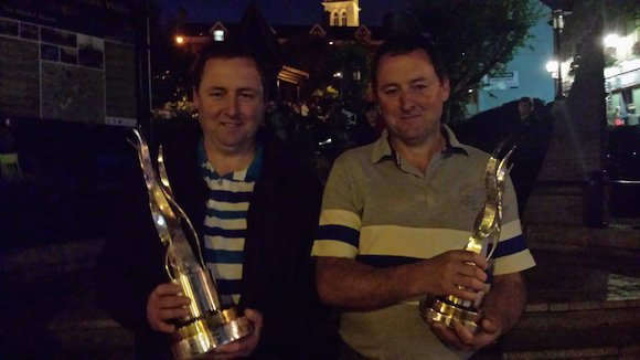 Brothers Stuart and Joe Moore, part of the Letterkenny Today Town's Group, at last night's reception at Market Square.