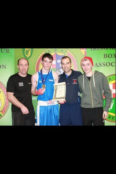 Brendan, Mark, Jim and Matthew McCole after his victory at the Ulster championships.
