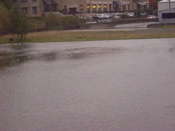 Our picture shows how close the high tide at the Port Bridge in Letetrkenny was close to bursting its banks.