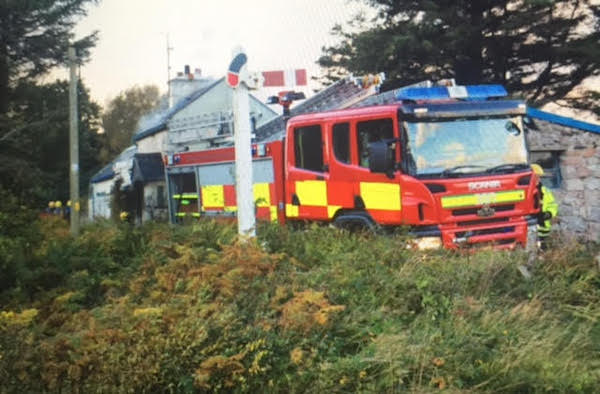 Fire tenders at the scene of this morning's blaze in Crolly.