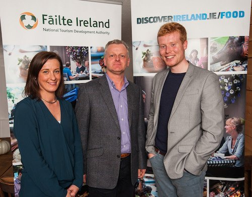 Failte Ireland's Sinead Hennessy pictured with Ciarán ó hAnnracháin from Letterkenny IT and Mark Moriarty, EuroToques/Fáilte Ireland Young Chef of the Year 2013 and top young chef in the world after his win in Milan's San Pellegrino Young Chef competition 2015  in Ard Bia. Photo : Reg Gordon