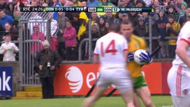 The moment Stephen O'Neill ran into the man mountain Neil McGee.