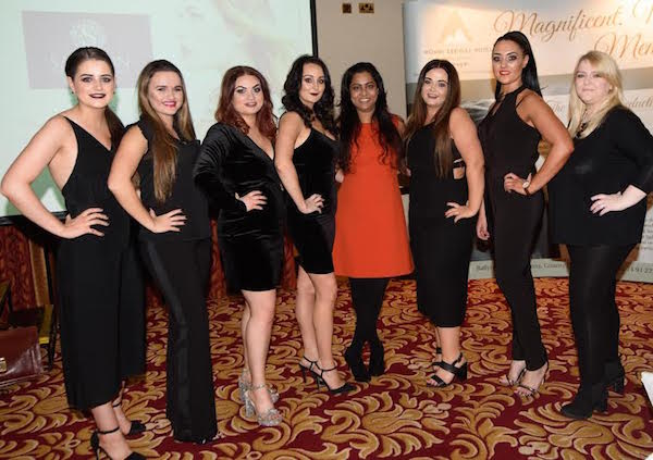 Anjali Mohammed ande her team at the Saffron Hair & Beauty Lounge official opening at the Mount Errigal Hotel.  The Salon is a brand new, purpose built 2 floor salon, which is a one stop shop for Hair, Beauty, Nails, Spa Treatments & much more. Photo Clive Wasson