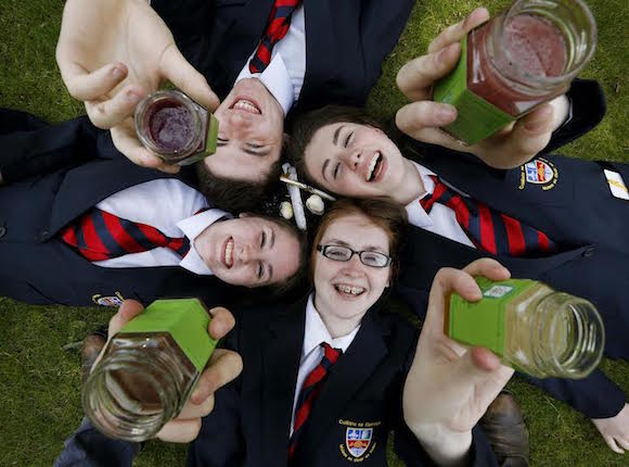 .Milseog Na Mara creators, Mary Kate Carr, Ronan O'Hare, Aimee Byrne and Rebecca McShane from Colaiste Na Carriage, Co. Donegal, pictured here after they won the Youth Entrepreneur of the Year 2015. Pic Robbie Reynolds