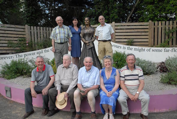 The Stranorlar Town Action Group (STAG) with a statue of Frances Browne which was unveiled in the town.