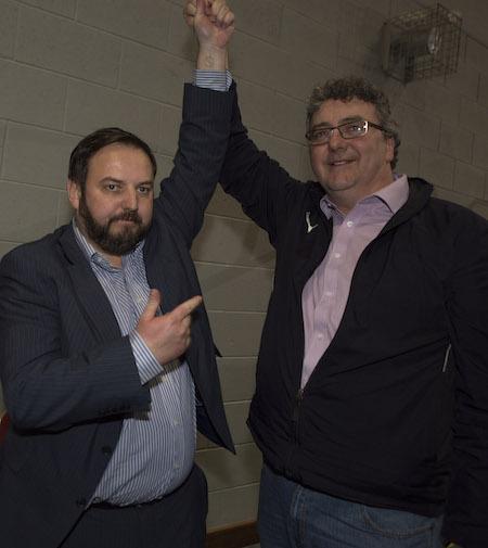 Padraig MacLochlainn concedes defeat to Thomas Pringle.