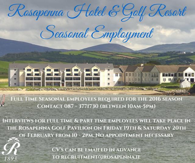 Rosapenna Staff Advert 2016-2