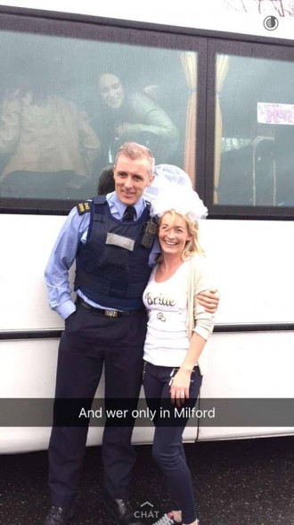 Geraldine Connor with a Garda that came to her rescue earlier this afternoon!