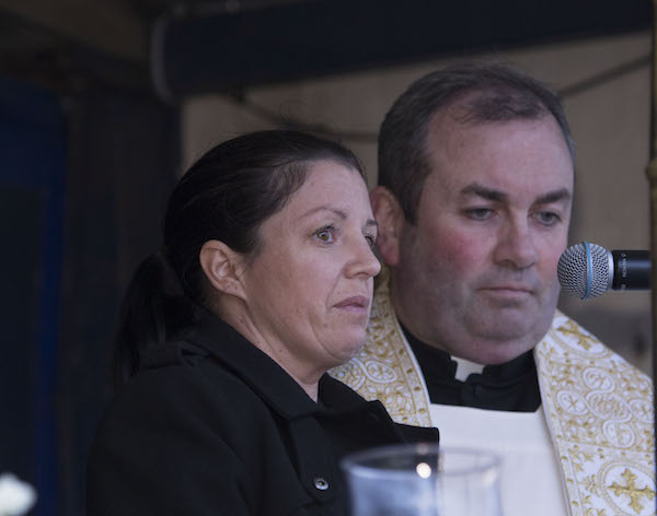 An emotional Louise James at the vigil in Buncrana. (North West Newspix)