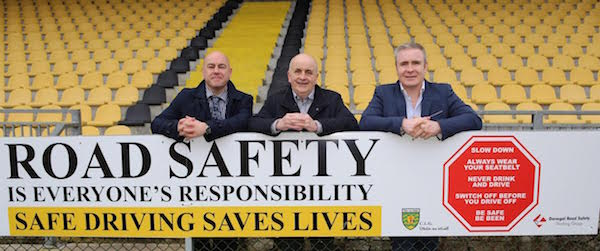 Stephen Maguire, editor of Donegal Daily, Donegal Road Safety Officer Brian O'Donnell and Donegal Daily Commercial Director John Gildea getting the message out that road safety is everyone's responsibility. Pic by Northwest Newspix.