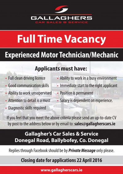 JOB VACANCY: GALLAGHER'S CAR SALES AND SERVICE SEEK FULL