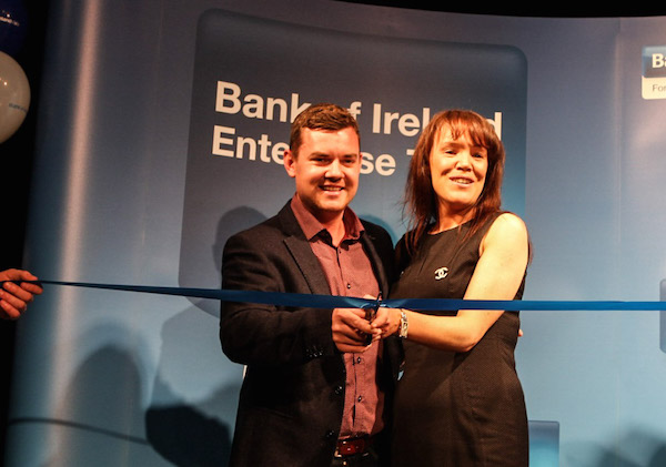 Danny O'Carroll with Bank of Ireland's Liz Sullivan opening today's event. Pic by Northwest Newspix.