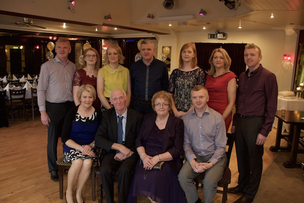 John and Betty Harkin with their family on the occasion of their 50th Wedding Anniversary in the Lagoon, Termon.Back L- R James, Annette, Sara, Eddie, Eilish, Helen, John. Front Marian and Hugh.