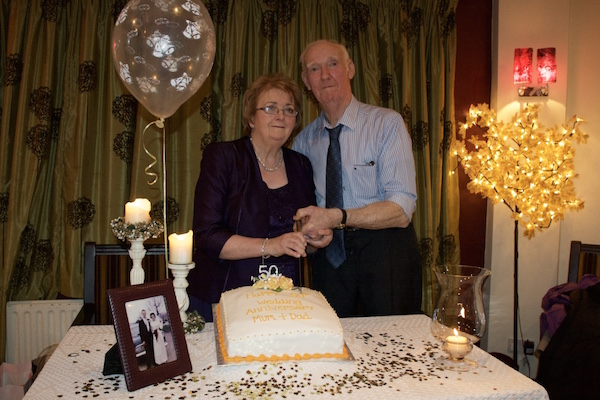 John and Betty Harkin cutting the cake, 50 years later, on their Golden Wedding Anniversary at their celebration recently in Termon.
