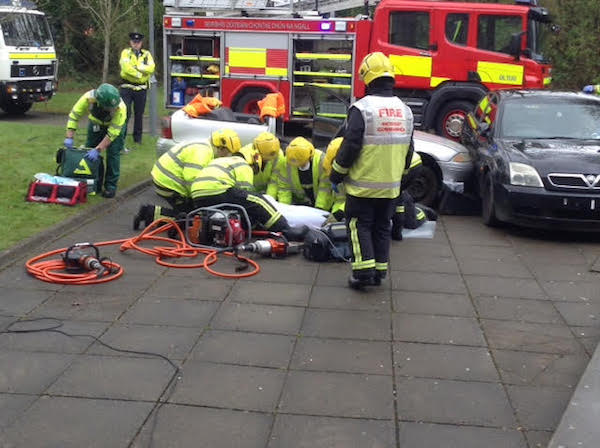 The emergency services attend to the casualty during today's 'crash.'