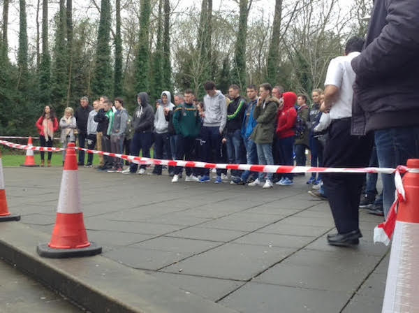 Students watch the 'crash' at the LYIT today.