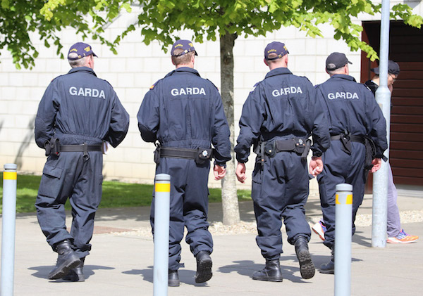Gardai patrol at the LYIT in Letterkenny earlier this afternoon.