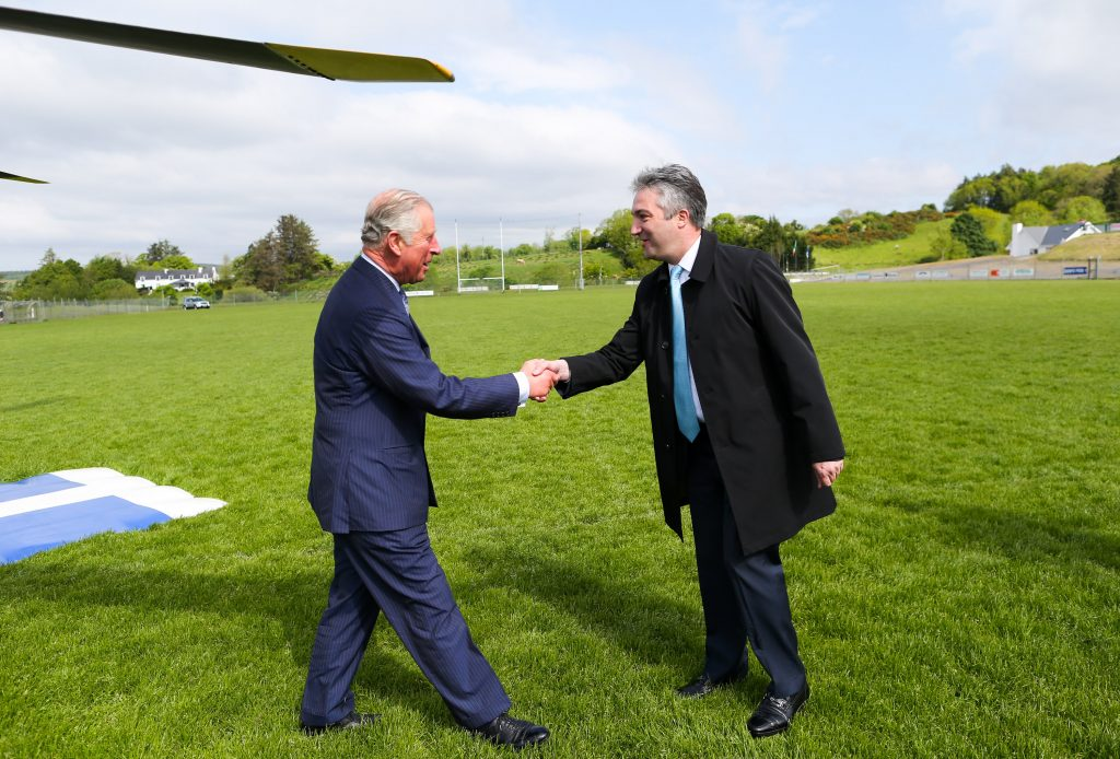 Visit to Ireland by The Prince of Wales and the Duchess of Cornwall. Donegal, Ireland. Pic Shows: (l to r) HRH The Prince of Wales being greeted by Mr. Gerald Angley: Director British Irish Relations at the Department of Foreign Affairs and Trade as he stepped out of the helicopter in Donegal. PIC:MAXWELLPHOTOGRAPHY.IE
