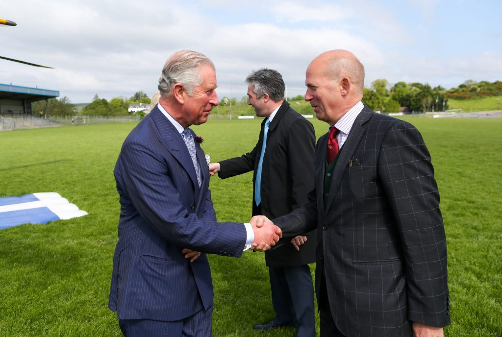 25/05/2016 NO REPRO FEE, MAXWELLS DUBLIN, IRELAND Visit to Ireland by The Prince of Wales and the Duchess of Cornwall. Donegal, Ireland. Pic Shows: HRH The Prince of Wales being greeted by H.E. Mr. Dominick Chilcott, British Ambassador to Ireland as he stepped out of the helicopter in Donegal. PIC: NO FEE, MAXWELLPHOTOGRAPHY.IE